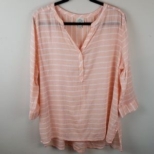 St John's Bay Top Light Coral Sz Xl